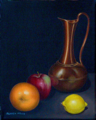 Classic Still Life - Brass and Fruit (oil on canvas)