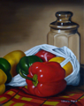 Peppers in a Bag (oil on panel)